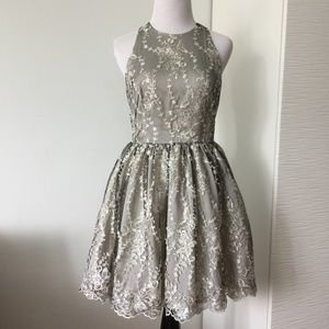 Bebe Floral Embroidered Lace Dress in Silver
